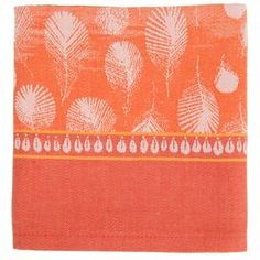 Water-resistant cotton table runner with a feather design in vermilion.