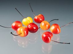 Realistic Glass Rainier Cherry Bead with copper by GlassBerries, $50.00