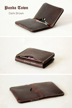Free carving  Slim Leather WalletThin Leather Wallet by HeyFish