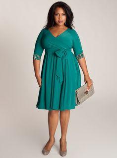 Jaqueline 2-in-1 Plus Size Dress in Jade #fullfigured #curvy #plus