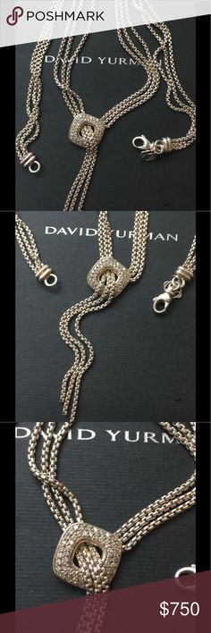 "David Yurman Necklace with Pave Diamonds David Yurman Pave Diamond Lariat Waterfall Necklace- This is the stunning David Yurman Lariat Waterfall Diamond Tassel 3-Strand Box Chain Necklace.                                    EXCELLENT CONDITION - NWOT                                                 OVER 1 CT+ IN DIAMONDS -16"" LONG  -                                                 TASSEL HANGS 2 1/2 INCHES.                                SEE MY OTHER LISTINGS FOR MATCHING EARRINGS David…"