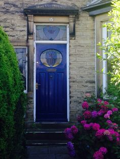 Arts & Crafts door and side window in Bradford England