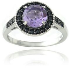STERLING SILVER RING W/ AMETHYST & BLACK SPINEL STERLING SILVER RING WITH 2 CARAT AMETHYST AND BLACK SPINEL. SIZE 6.  SAME OR NEXT DAY SHIPPING. Jewelry Rings