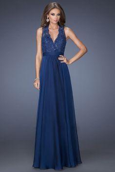 2014 Prom Dresses A Line Floor Length V Neck Chiffon And Lace Dark Navy Color CAD 194.55 LBPPHZDZR7G - BrandPromDresses.com