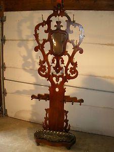 Antique Walnut Hat Coat Rack Tree  Umbrella Stand