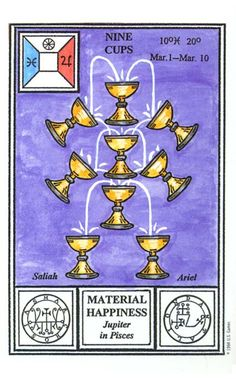 The nine of cups represents contentment and overall satisfaction with what has been achieved. We find ourselves surrounded by our fulfilled wishes. Enjoy this time in your life. Online Tarot, Tarot Meanings, I Ching, Palmistry, Card Reading, Tarot Decks, Numerology, Book Club Books, Tarot Cards
