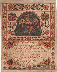 Birth and Baptismal Certificate (Geburts und Taufschein) for Elisabeth Kauffman - Fraktur