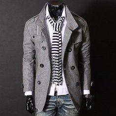 Men Autumn Winter Slim Coat  Stylish Warm Jacket Double-breasted Trench Outwear