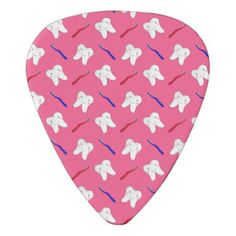 Cute pink toothburshes and teeth pattern guitar pick