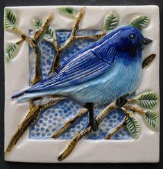 Hand Made Bluebird Tile,  Ready to Ship