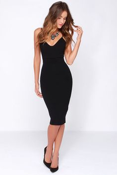 $54, Black Bodycon Dress: LuLu*s Lulus Dont Tell Em Black Bodycon Midi Dress. Sold by Lulu's. Click for more info: https://lookastic.com/women/shop_items/129748/redirect