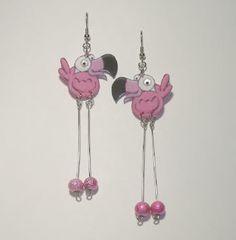 Pink Flamingos Birds, Flamingo Bird, Shrink Art, Shrink Film, Shrink Plastic Jewelry, Weird Jewelry, Bottle Jewelry, Stationery Craft, Shrinky Dinks