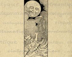 vintage man in the moon clipart - Google Search. moon image for tattoo, maybe fish in the ocean.