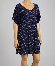 Another great find on #zulily! Navy & White Dot Empire-Waist Dress - Plus by Star Vixen #zulilyfinds