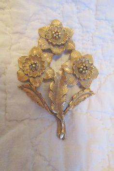 Vintage Brass Stamping Large Flower SALE by rarefinds4u on Etsy