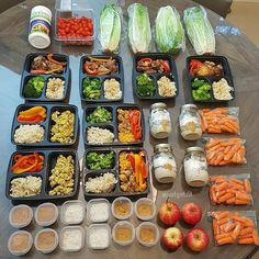 """Who said meal prepping takes too long?? Boom!  Here's what 80 minutes can generate. Awesome job with this stunning meal prep as always @justget.fit!  :::::::::::::::::::::::::::::::::::::::::"""" 80 min meal prep  Added a lot of veggies to my prep this week for volume. M1: overnight oats with Pb and chia  superfruit greens from @vitasave.ca M2: head of romaine and tomatoes M3: slow cooker chicken adobo with brown rice and broccoli M4: carrots apple with Pb M5: ground chicken brown rice bell…"""