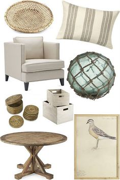 Naturally Nautical ...        Cane Rattan Charger // Vertical Linen Striped Pillow // Hyde Chair // Vintage Glass Float with Net // Nito Coasters // Whitewashed Wood Bins // Reclaimed Wood Pine Round Table // Shore Bird Art