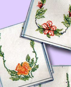 1940s Stellar Simplicity Cross Stitch Guest Towels Transfer Uncut Original | eBay