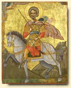 Detailed view: Saint Menas- exhibited at the Temple Gallery, specialists in Russian icons Byzantine Icons, Byzantine Art, Religious Icons, Religious Art, Fall Of Constantinople, Russian Icons, Best Icons, Black History Facts, Angels Among Us