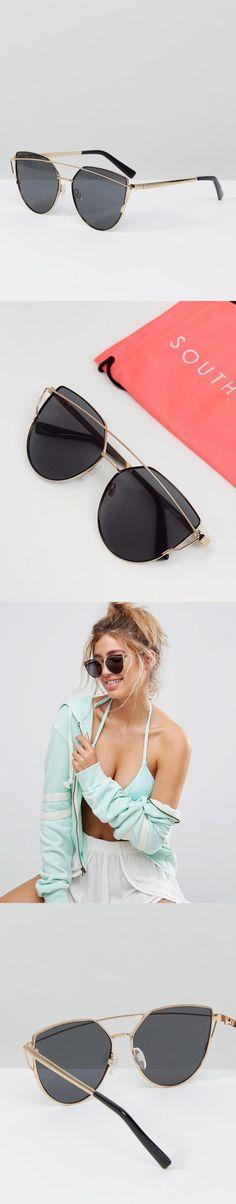 e58011c84f7 South Beach Flat Lens Cat Eye Sunglasses with Gold Brow Bar Brow Bar
