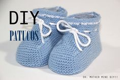 Discover thousands of images about DIY Cómo tejer patucos sandalia para bebe (patrones gratis) Knit Baby Shoes, Crochet Shoes, Baby Boots, Crochet Slippers, Knitting For Kids, Knitting Socks, Baby Knitting, Knitted Booties, Crochet Baby Booties