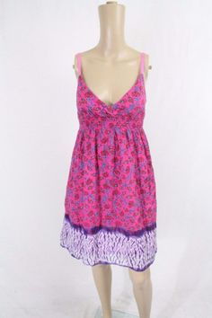 Floral Filigree TIE DYE Sundress SZ M Pink Purple Blue PEASANT Festival Beach #DerekHeart #Sundress #Casual