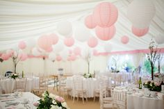 I love the paper lanterns on the roof, in blue and white of course, and for an indoor wedding.