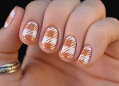 Fall gingham nails with tutorial by Nailed It - definitely want to try these in a difference color though!
