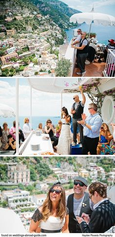 """POSITANO - Felicity & Trent's unique destination wedding in Italy included 5 venues. The first was Villa Franca, Positano. In the brides words """"Our first venue had to be spectacular, we wanted to really knock some socks off with this one. This boutique hotel is right at the top of the aptly nicknamed 'wedding cake' or the tiers of cliff top houses and hotels that make up picturesque Positano so it has 180 degree views of the beaches, mountains, cathedral and marina.""""   weddings-abroad-guide"""