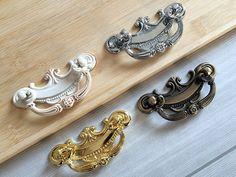 "2.5"" Shabby Chic Drop Bail Dresser Pull Drawer Pulls Handles Cabinet Door Knob Kitchen Handle Ornate White Gold Bronze Silver 2 1/2"" 64 mm"