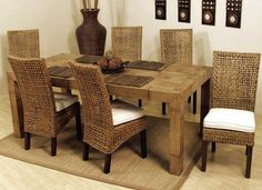 Dining Room Rattan Dining Table White Wicker Dining Chairs in sizing 2020 X 1360 Wicker Dining Set Table Chairs - How you decorate your table is all up to Wicker Dining Room Chairs, Indoor Wicker Furniture, Dining Room Sets, Dining Table In Kitchen, Kitchen Chairs, Dining Room Furniture, Living Room Chairs, Living Room Decor, Furniture Ideas
