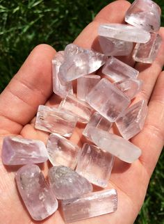 Kunzite Crystal Extra Quality tumbled stone Kunzite is a beautiful crystal, pure in energy and joyful in nature. In palest pink to light violet hues, it is a Stone of Emotion, opening and connecting t