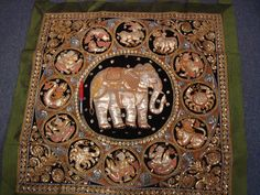 """Linen, silk, velvet, cotton, metallic thread, sequences and glass. Commonly depicting traditional themes such as jataka, ramayana, animals or the eastern zodiac. Nation: Myamar. Burma. 47"""" tall 40"""" long"""