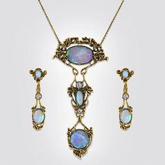 Suite of antique art nouveau Black Opal and old European cut Diamond Necklace and pendant Earrings by Walton & Co. of Los Angeles circa 1900 Opal Earrings, Antique Earrings, Opal Jewelry, Pendant Earrings, Pendant Jewelry, Diamond Jewelry, Silver Jewelry, Fine Jewelry, Jewelry Necklaces