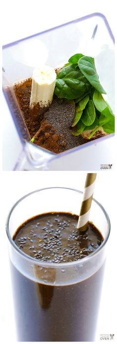 Chocolate Chia Smoothie -- tastes like dessert, but it's made with healthy ingredients!   gimmesomeoven.com