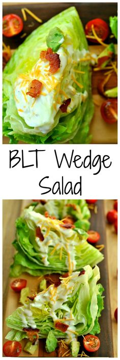 BLT Wedge Salad is a quick and simple meal option! Bacon, tomato, avocado, and cheese help give this salad amazing flavors and textures!