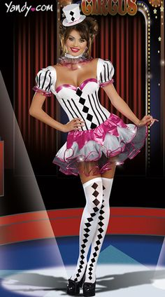 harlequin costume inspiration - Cirque Du Sexy Costume, Black and White Harlequin Costume, Black and White Clown Costume Crazy Costumes, Cute Halloween Costumes, Girl Costumes, Adult Costumes, Costumes For Women, Dance Costumes, Easter Costumes, Fantasy Costumes, Black And White Clown