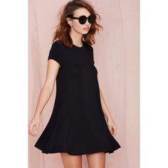 Nasty Gal Take the Shirt Cut Dress (135 BRL) via Polyvore featuring dresses, black, a line dress, shirt dress, a line shirt dress, cap sleeve short dress e cap sleeve a line dress