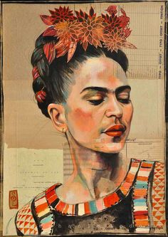Frida in colors by StephanieLedouxArt on Etsy