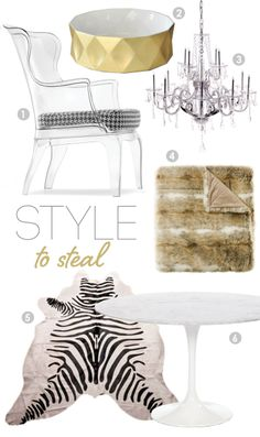 Love the acrylic high back chairs and the gold round facetted bowl.
