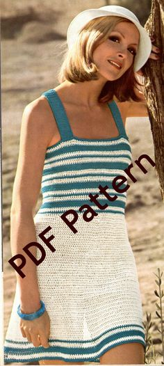 So cute. Would be great for a summer picnic, or the beach. Easy beginner Vintage 1974 Sun Dress crochet pattern is a classic. 3 sizes 32, 34, 36 bust. Adjustable straps. PDF.  by BubbleGumInTheMail, $2.50