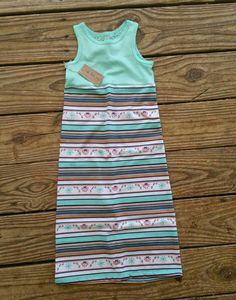 Maxi dress infant toddler sea foam floral stripe by TheKnotProject