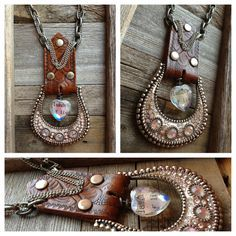 Große Kristall-Gürtelschnalle-Halskette mit Ledergürtel, Lederhalsband, Unikat-Schmuck, Südwesten