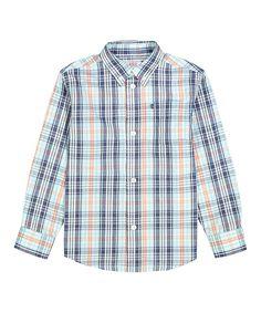 Bright Blue Plaid Button-Up - Boys