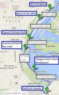 Niagara Falls One Day Itinerary. Bird Kingdom, Maid of Mist, Queen Victoria Park, Journey Behind the Falls, Dufferin Islands