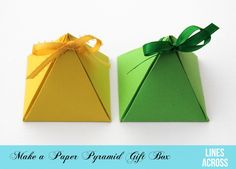 These paper pyramid gift boxes are so unique and really easy to assemble. They also come with a free printable template.