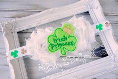 Irish Princess Double Shabby and Shamrock Print Headband by babyzdesigns
