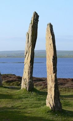 Ring of Brodgar -     Stone circle about 2500 BC. 27 of the original 60 stones remain. Orkney Scotland