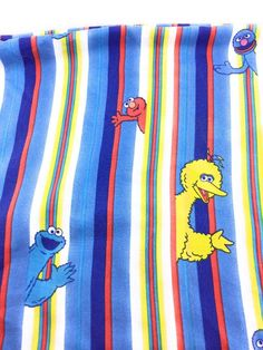 Vintage Sesame Street Twin Sheet Set Flat Fitted Fabric Cutter Striped Bright #SesameStreet #ebayROCteam