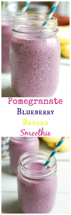 Pomegranate Blueberry Banana Smoothie is a powerhouse of a smoothie! This is packed with antioxidants, calcium and protein making it the perfect way to start your day or give you energy in the afternoon. // A Cedar Spoon #weightlossrecipes